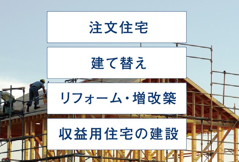 注文住宅、建て替え、リフォーム・増改築、収益用住宅の建設